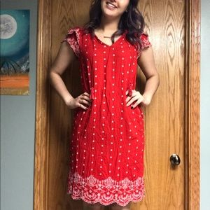 Red Peasant Dress